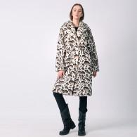 Шуба-халат из экомеха под снежного барса с воротником шаль