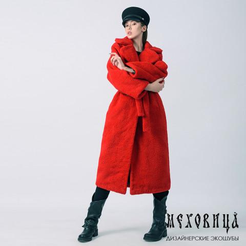 Меховое пальто RED из экомеха под овчину