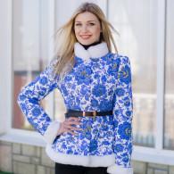 """Куртка """"Гжель"""" в русском стиле с искусственным мехом"""