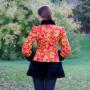 """Куртка """"Хохлома красная"""" в русском стиле с мехом под норку"""