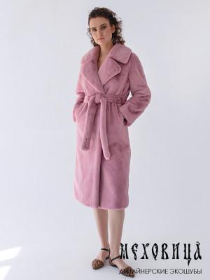 Шуба-халат из экомеха под кролика Розовый мусс с английским воротником