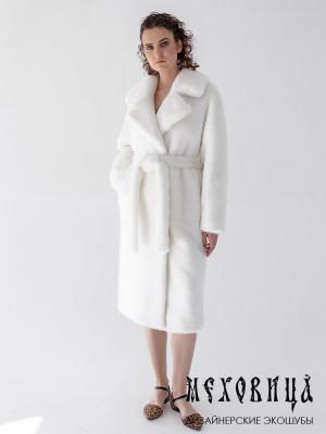 Шуба-халат из экомеха под белую норку Snow