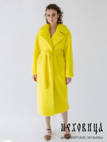 Желтая шуба-халат из экомеха под стриженного кролика Lemon