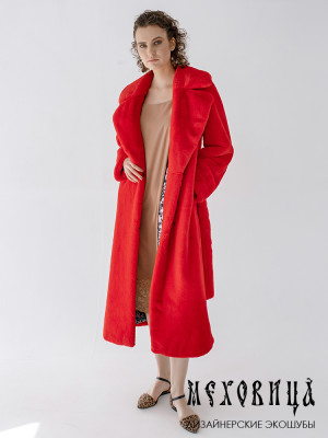 Шуба-халат красная из экомеха под с английским воротником