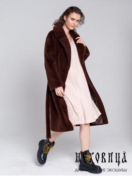Шуба-халат из экомеха под стриженного кролика Брауни