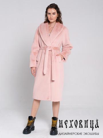 Шуба-халат из экомеха под стриженного кролика Розовая пудра