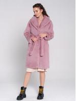 Шуба-халат из экомеха под кролика Розовый мусс